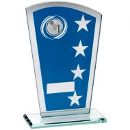 Blue/Silver Printed Glass Shield With Netball Insert Trophy - 6.5in