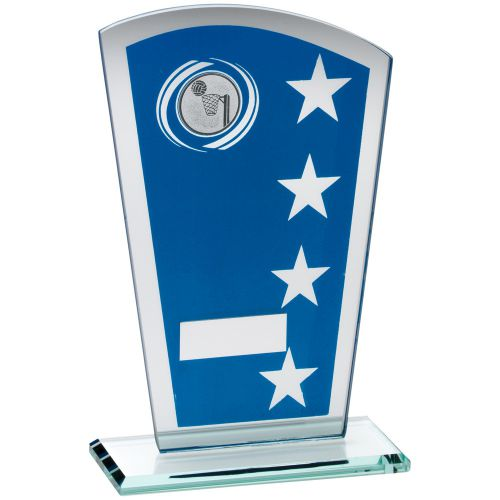 Blue Silver Printed Glass Shield Trophy Award With Netball Insert Trophy - 8in