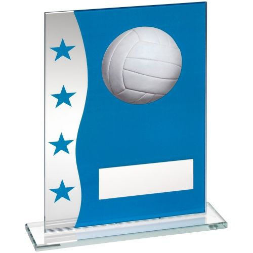 Blue Silver Printed Glass Plaque With Netball Image Trophy Award - 7.25in