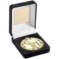 Black Velvet Medal Box And 50mm Medal Netball Trophy Award - Bronze - 3.5in