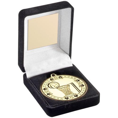 Black Velvet Medal Box And 50mm Medal Netball Trophy Award - Gold - 3.5in