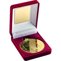 Red Velvet Box And Gold Netball Medal Trophy - 3.5in