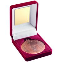 Red Velvet Box And Bronze Netball Medal Trophy - 3.5in
