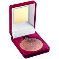 Red Velvet Box And Bronze Netball Medal Trophy - 3.5in