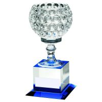 Clear Blue Glass Goblet On Block Base Trophy 9.25in