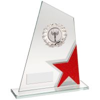 Jade Red Silver Glass Plaque With Silver Trim Trophy Award - (2in Centre) - 8in