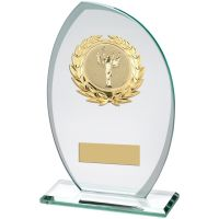 Jade Frosted Glass Plaque With Gold Trim Trophy Award - (2in Centre) - 8.25in