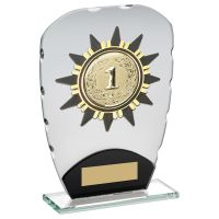 Jade Black Glass Plaque With Gold Sunshine Trim Trophy 7.25in