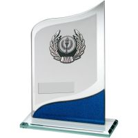 Jade Blue Silver Pointed Glass With Silver Black Trim Trophy - (1in Centre) 7.25in