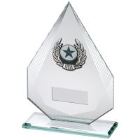 Jade Silver Diamond Glass With Silver Black Trim Trophy - (1in Centre) 6.5in
