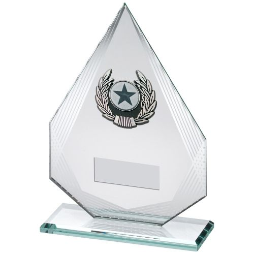 8in FREE ENGRAVING BLACK//SILVER GLASS PLAQUE WITH SILVER POOL SWIRL TROPHY