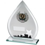Jade Black Silver Glass Teardrop Plaque With Silver Black Trim Trophy - (1in Centre) 6.5