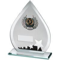 Jade Black Silver Glass Teardrop Plaque With Silver Black Trim Trophy - (1in Centre) 6.5