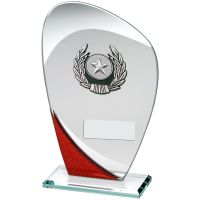 Jade Red Silver Glass Plaque With Silver Black Trim Trophy - (1in Centre) 8in