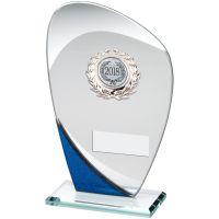 Jade Blue Silver Glass Plaque With Silver Trim Trophy - (1in Centre) 7.25in