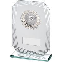 Jade Silver Rectangle Glass With Silver Trim Trophy Award - (2in Centre) - 6.75in