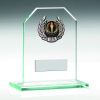 Jade Glass Plaque With Silver Trim Trophy - 4.5in