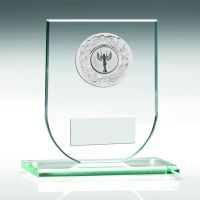 Jade Glass Plaque With Silver Trim Trophy - 4.25in