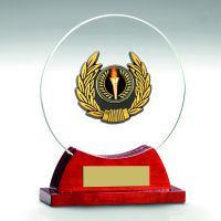 Jade Glass Rosewood Base With Gold Trim Trophy - 6.25in