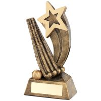 Bronze Gold Hockey Sticks Ball With Shooting Star Trophy - 5.75in