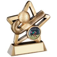 Bronze Gold Hockey Mini Star Trophy 4.25in