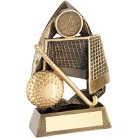 Bronze Gold Gold Hockey Diamond Collection Trophy Award - 6.5in