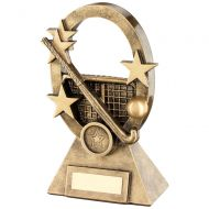 Bronze Gold Hockey Oval Stars Series Trophy - (1in Centre) 7.25in