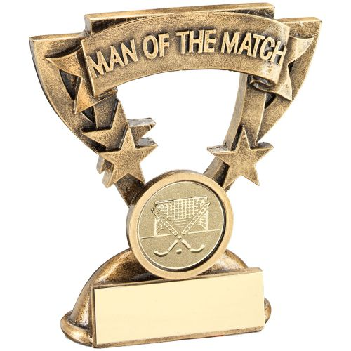 Bronze Gold Gold Man Of The Match Mini Cup Trophy Award With Hockey Insert Trophy Award - 3.75in
