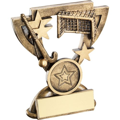 Bronze Gold Hockey Mini Cup Trophy Award Trophy - (1in Centre) 4.25in