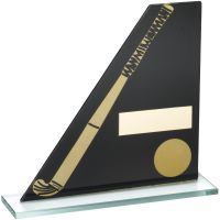 Black Gold Printed Glass Plaque With Hockey Stick Ball Trophy - 7.25in