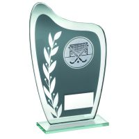 Grey Silver Glass Plaque With Hockey Insert Trophy 6.5in