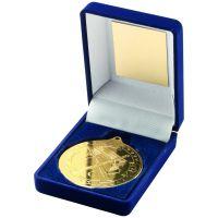 Blue Velvet Box + Medal Hockey Trophy - Gold 3.5in