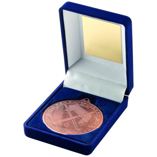 Blue Velvet Box + Medal Hockey Trophy - Bronze 3.5in