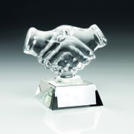 Clear Glass Handshake Trophy - 4.25in