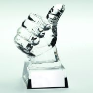 Clear Glass Thumbs-Up Trophy - 5.5in