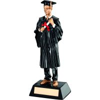 Black Gold Resin Male Graduate Trophy - 9.25in