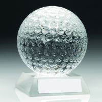 Clear Glass Golf Ball Trophy - 3in