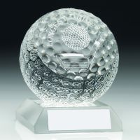 Clear Glass Golf Ball Longest Drive Trophy - 3.5in