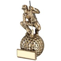 Bronze Gold Gold Crouching Golfer On Ball Base Trophy Award - 6.75in