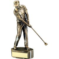 Bronze Gold Male Mid Swing Golfer Trophy 9.5in