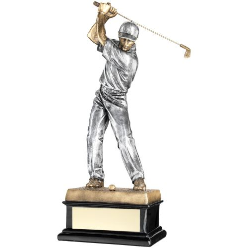 Bronze Pewter Back Swing Golfer On Black Base Trophy Award - 14in