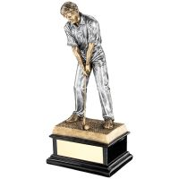 Bronze Pewter Start Of Swing Golfer On Black Base Trophy Award - 12.5in