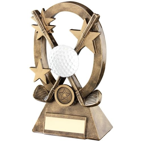 Bronze Gold White Golf Oval Stars Series Trophy - (1in Centre) 7.25in