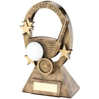 Bronze Gold White Golf Oval Stars Series Trophy - Longest Drive (1in Centre) 7.25in
