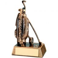 Bronze Gold Resin Golf Bag Trophy - 6.25in