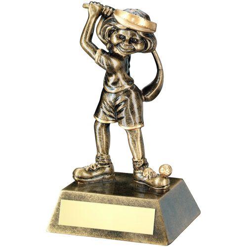 Bronze Gold Female Comic Golf Figure Trophy 5.5in