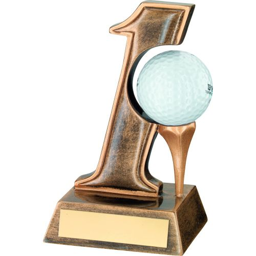 Bronze Gold Resin Hole In One Golf Trophy - 5.5in