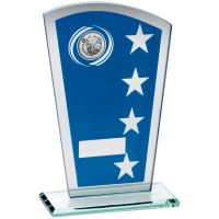 Blue Silver Printed Glass Shield Trophy Award With Golf Insert Trophy - 7.25in