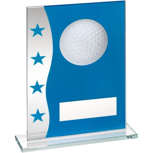 Blue Silver Printed Glass Plaque With Golf Ball Image Trophy Award - 6.5in