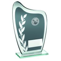 Grey Silver Glass Plaque With Golf Insert Trophy 8in
